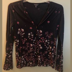 LUCKY BRAND Floral Button Top